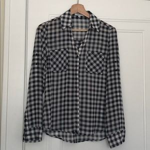 Express Portofino Shirt - Black Gingham - XS P